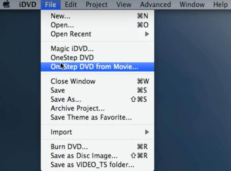 iDVD Software one Step DVD from iMovie